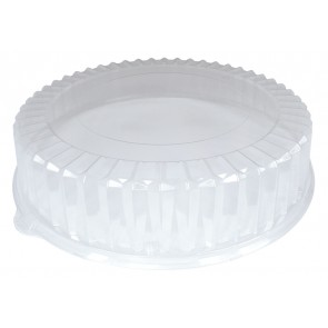 "12"" Clear Dome Lids for Coated Corrugated Paper Catering / Deli / Party Trays"