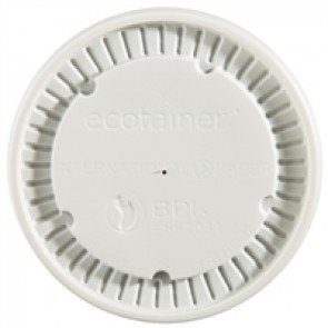 Ecotainer 16 / 32 oz. Flat Lids for Biodegradable Soup Cups / Food Containers, Compostable, White
