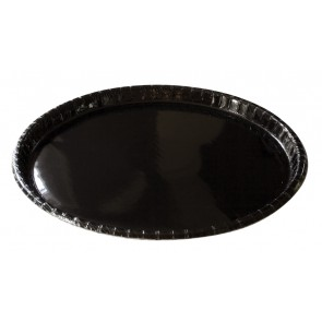"12"" Black Elegance High Gloss Coated Corrugated Paper Catering / Deli / Party Tray"