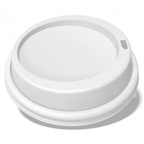 Ecotainer 10 / 12 / 16 / 20 oz. PET Dome Lids for Biodegradable Hot Cups / Coffee Cups, White