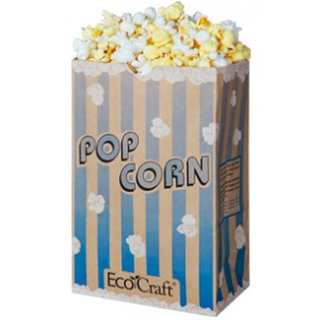 85 oz. Natural Theater Popcorn Bag, Blue Stripe