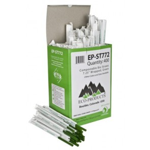 "7.75"" Wrapped Green Corn Plastic Straws"