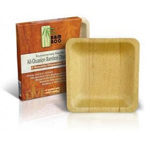 "10"" Bamboo Studio Retail Packaged Bamboo Sheath Square Plates"