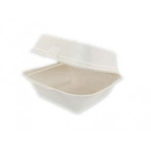 "5.5"" x 5.5"" x 3"" Bagasse Burger Box"