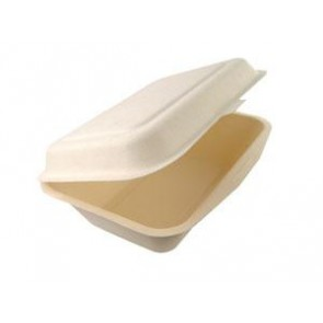 "7"" x 5"" x 2 1/2"" Bagasse Clamshell"