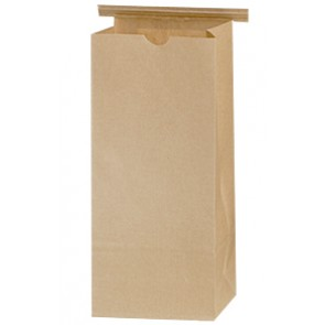 1 lb. Natural Kraft Brown Compostable Coffee Bag Paper Lined w/ Tie Tin