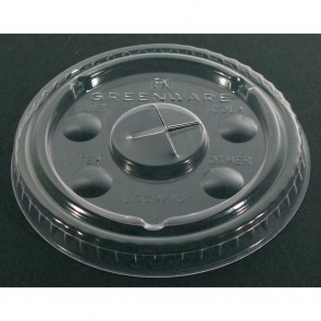 10 oz. Greenware Clear Flat Lid w/ Hole, Compostable
