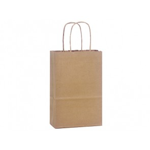 "100% Recycled Paper Shopping Bags, 5.5"" x 3.25"" x 8"""