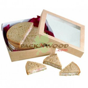 Kraft Box With Clear Window Lid  - 5 x 5 x 2""