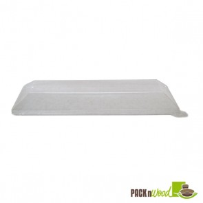 Clear Recyclable Lid for Rectangular Samurai - Wooden Tray - 8.4 x 3.3 x 1.1 in.