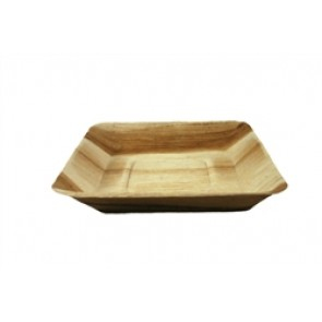 """7"""" Compostable Square Rimmed Palm Plate"""