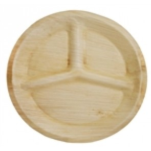 """11"""" Compostable 3-Compartment Palm Plate"""