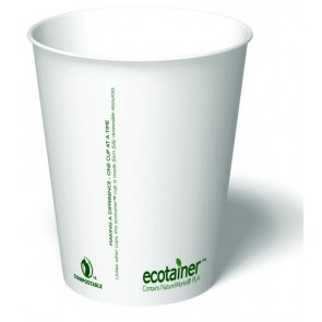 10 oz. Ecotainer Carte Blanc Biodegradable Hot Cup / Coffee Cup, Compostable, White