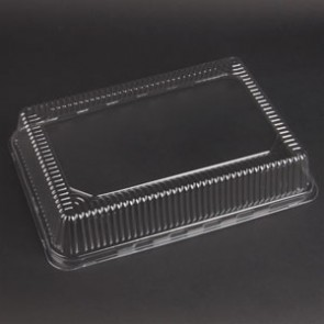 "9"" x 13"" x 2.25"" Clear OPS Quarter Sheet Pan Lid"