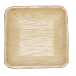 "3"" Square Biodegradable Fallen Palm Leaf Plates"