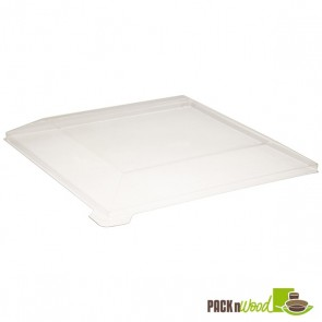 Clear Recyclable Lid for Square Samurai - Wooden Tray - 6.6 x 1.41 in.