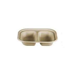 Compostable Wheatstraw 2-Compartment Tray
